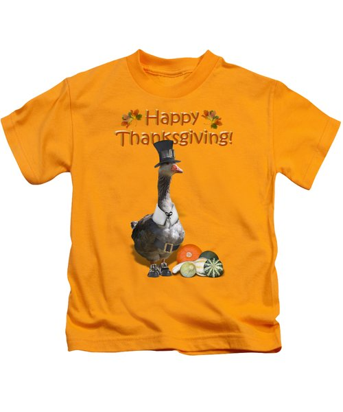 Thanksgiving Pilgrim Goose Kids T-Shirt by Gravityx9  Designs