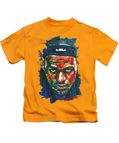 The Lebron Death Stare Kids T-Shirt by Maria Arango