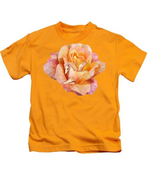 Unicorn Rose Kids T-Shirt by Carol Cavalaris