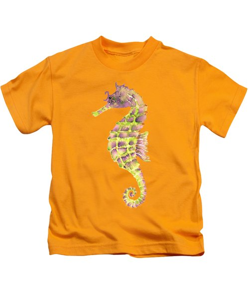 Violet Green Seahorse - Square Kids T-Shirt by Amy Kirkpatrick