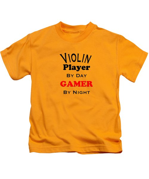 Violin Player By Day Gamer By Night 5632.02 Kids T-Shirt by M K  Miller