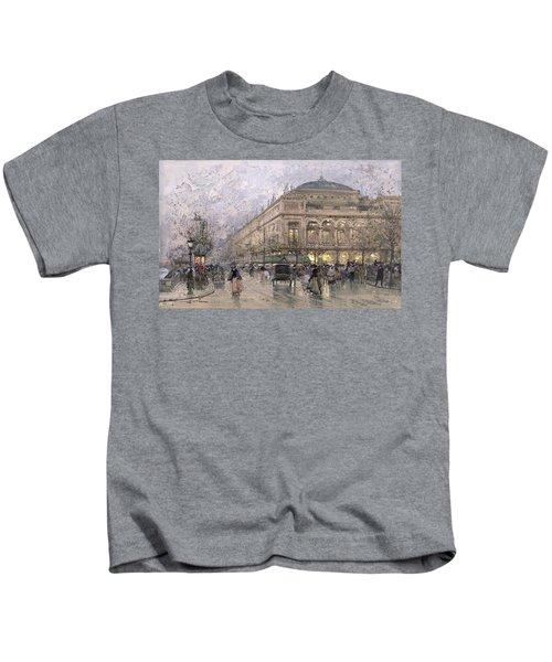 Parisian Street Scene Kids T-Shirt by Eugene Galien-Laloue