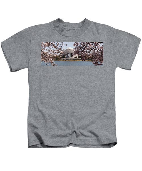 Cherry Blossom Trees In The Tidal Basin Kids T-Shirt by Panoramic Images