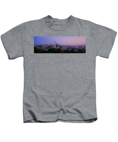 High Angle View Of A City At Sunrise Kids T-Shirt by Panoramic Images