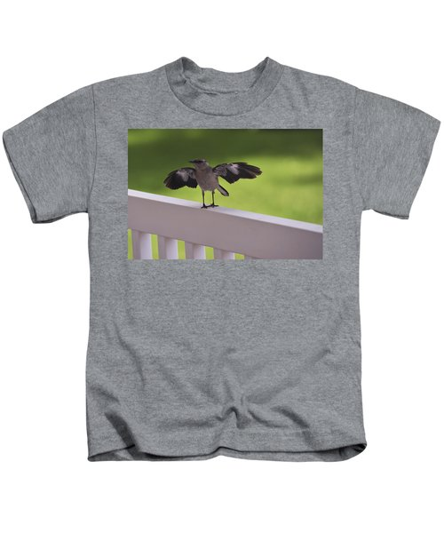 A Little Visitor Northern Mockingbird Kids T-Shirt by Terry DeLuco