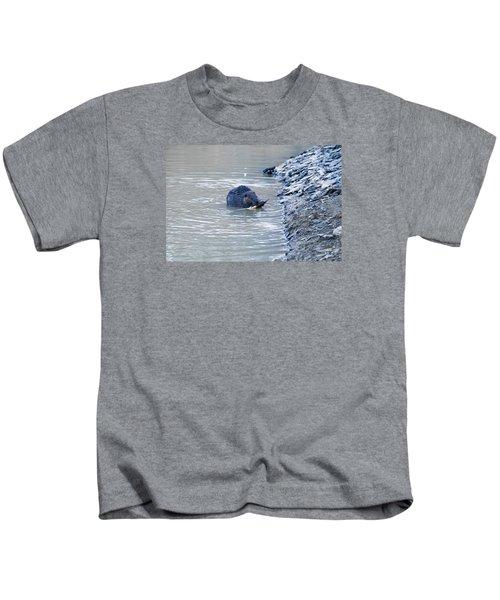 Beaver Chews On Stick Kids T-Shirt by Chris Flees