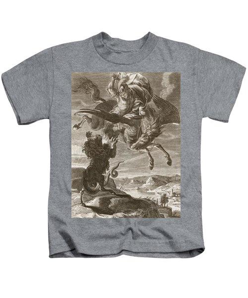 Bellerophon Fights The Chimaera, 1731 Kids T-Shirt by Bernard Picart