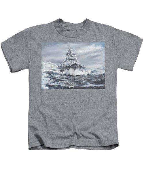 Bismarck Off Greenland Coast  Kids T-Shirt by Vincent Alexander Booth