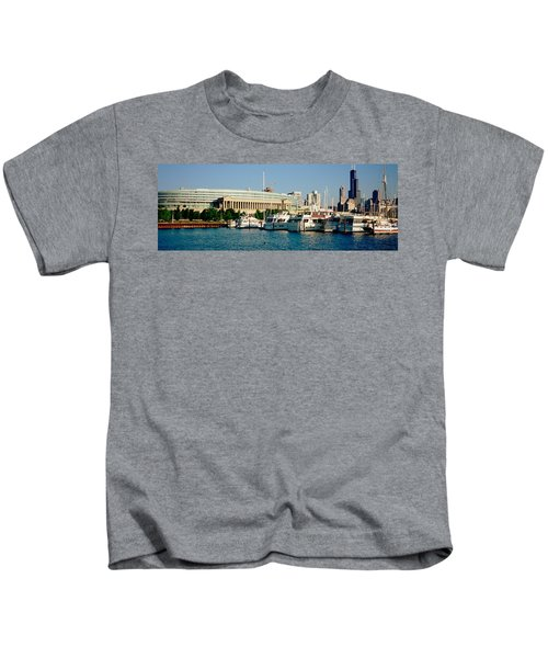 Boats Moored At A Dock, Chicago Kids T-Shirt by Panoramic Images