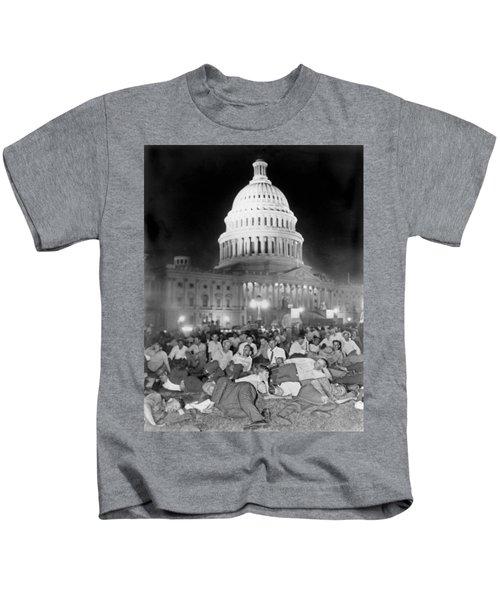 Bonus Army Sleeps At Capitol Kids T-Shirt by Underwood Archives