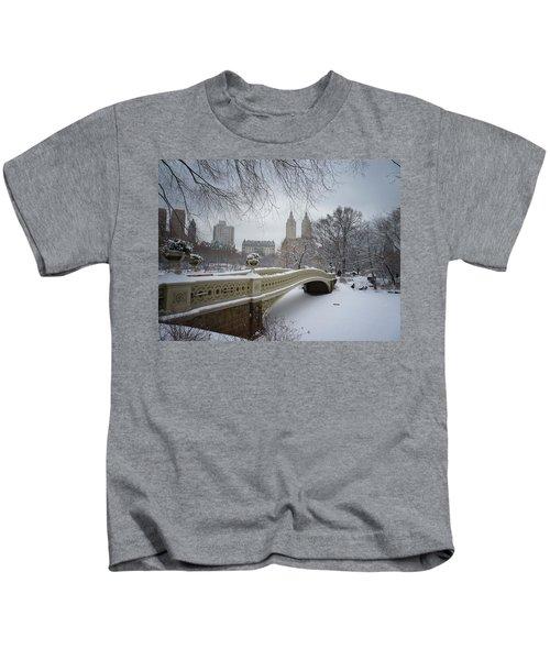 Bow Bridge Central Park In Winter  Kids T-Shirt by Vivienne Gucwa