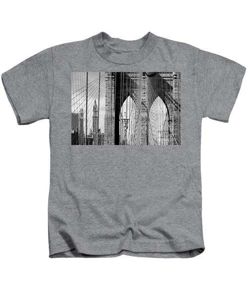 Brooklyn Bridge New York City Usa Kids T-Shirt by Sabine Jacobs