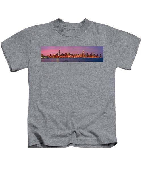 Chicago Skyline At Dusk 2008 Panorama Kids T-Shirt by Jon Holiday