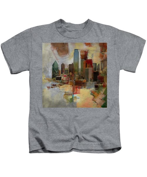 Dallas Skyline 003 Kids T-Shirt by Corporate Art Task Force