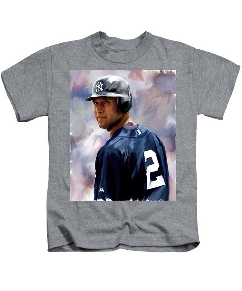 Derek Jeter  Kids T-Shirt by Iconic Images Art Gallery David Pucciarelli