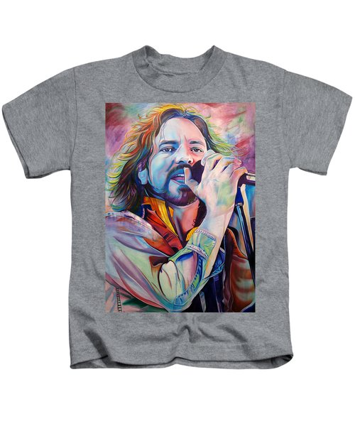 Eddie Vedder In Pink And Blue Kids T-Shirt by Joshua Morton