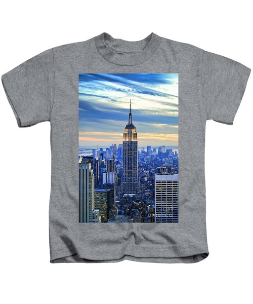 Empire State Building New York City Usa Kids T-Shirt by Sabine Jacobs