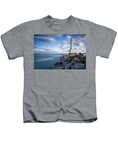Huron Harbor Lighthouse Kids T-Shirt by James Dean