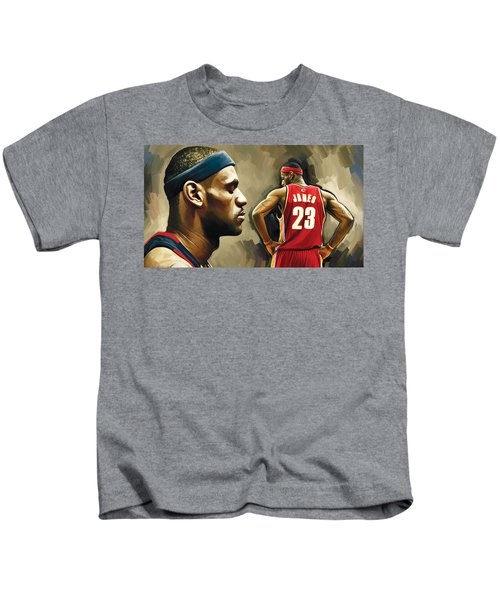 Lebron James Artwork 1 Kids T-Shirt by Sheraz A