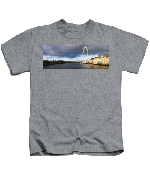 London Eye At South Bank, Thames River Kids T-Shirt by Panoramic Images