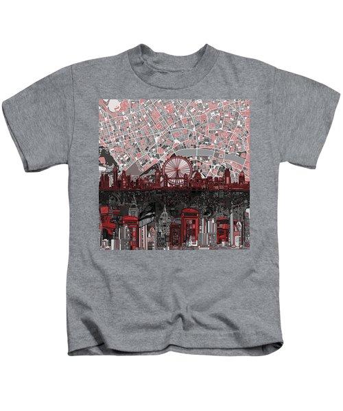 London Skyline Abstract 6 Kids T-Shirt by Bekim Art