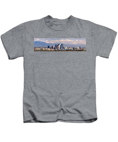 Los Angeles Skyline With Mountains In Background Kids T-Shirt by Jon Holiday
