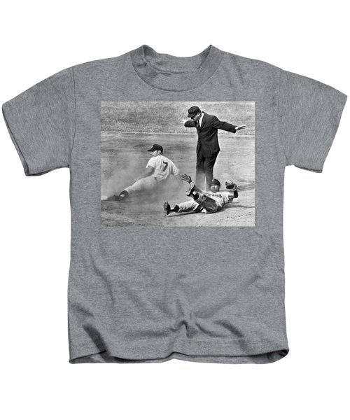 Mickey Mantle Steals Second Kids T-Shirt by Underwood Archives