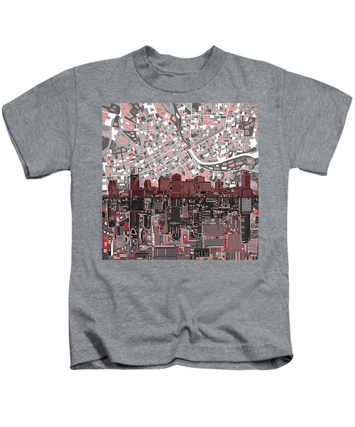 Nashville Skyline Abstract 3 Kids T-Shirt by Bekim Art