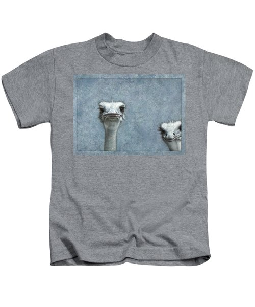 Ostriches Kids T-Shirt by James W Johnson