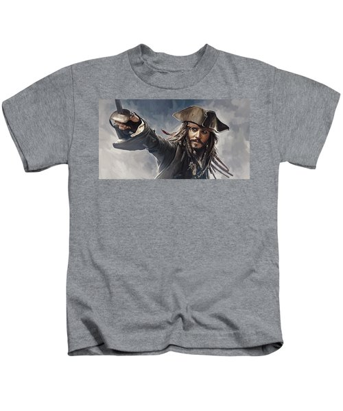 Pirates Of The Caribbean Johnny Depp Artwork 2 Kids T-Shirt by Sheraz A