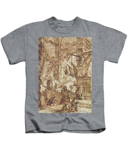 Preparatory Drawing For Plate Number Viii Of The Carceri Al'invenzione Series Kids T-Shirt by Giovanni Battista Piranesi