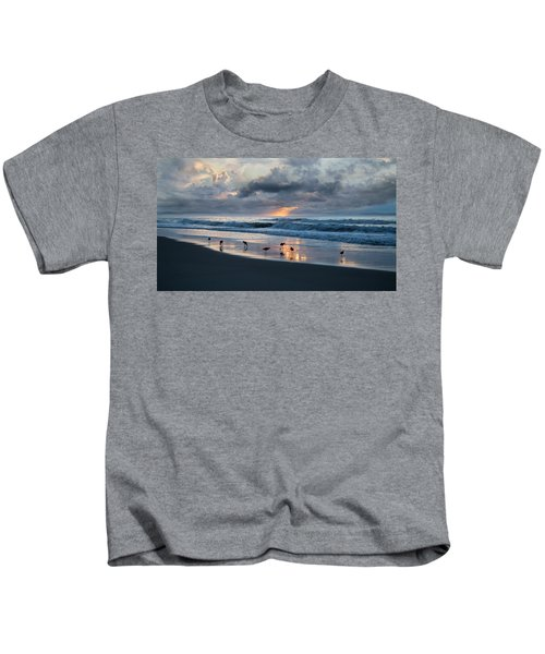 Sandpipers In Paradise Kids T-Shirt by Betsy Knapp
