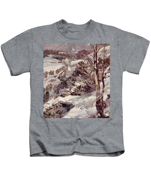 The Russians Fighting Their Way Over The Carpathians Kids T-Shirt by Cyrus Cuneo