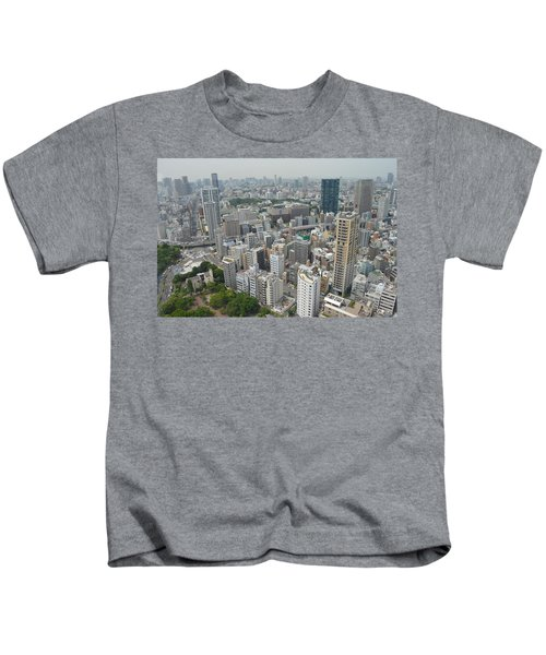 Tokyo Intersection Skyline View From Tokyo Tower Kids T-Shirt by Jeff at JSJ Photography