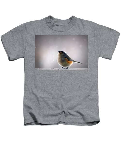 Tufted Titmouse Kids T-Shirt by Cricket Hackmann