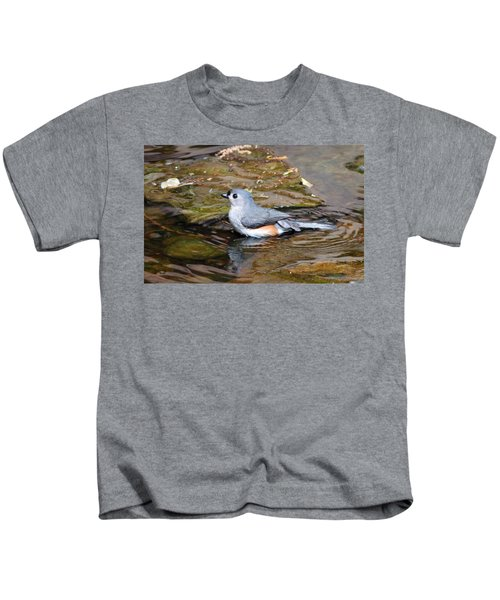 Tufted Titmouse In Pond II Kids T-Shirt by Sandy Keeton