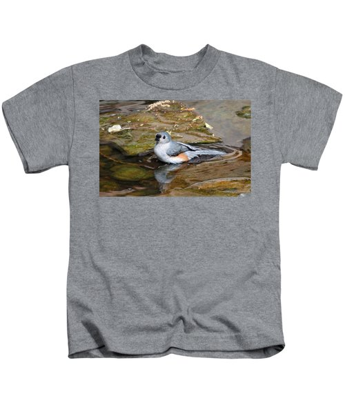 Tufted Titmouse In Pond Kids T-Shirt by Sandy Keeton