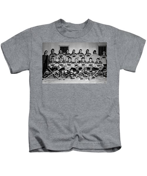 University Of Michigan Hockey Team 1947 Kids T-Shirt by Mountain Dreams