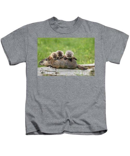 Woodchuck Carrying Young Minnesota Kids T-Shirt by Jurgen & Christine Sohns