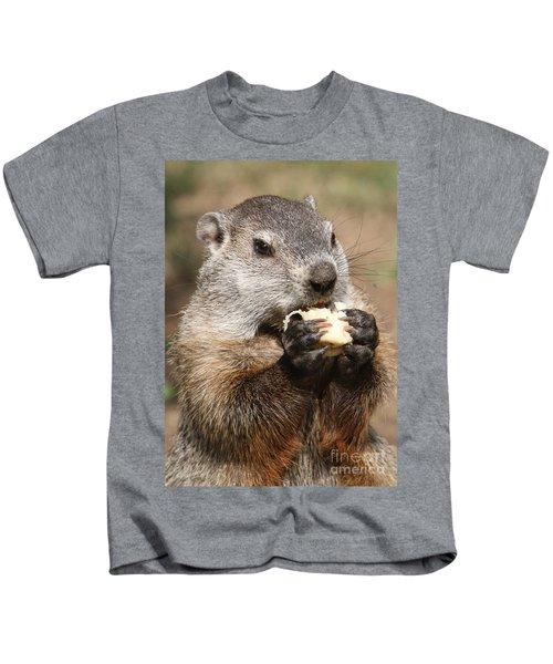 Animal - Woodchuck - Eating Kids T-Shirt by Paul Ward
