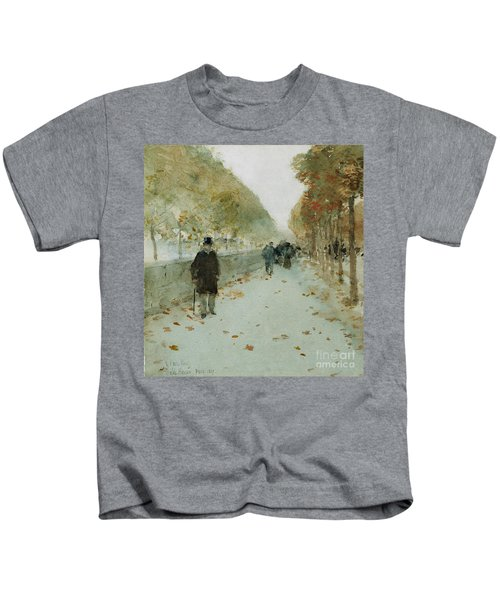 Quai Du Louvre Kids T-Shirt by Childe Hassam