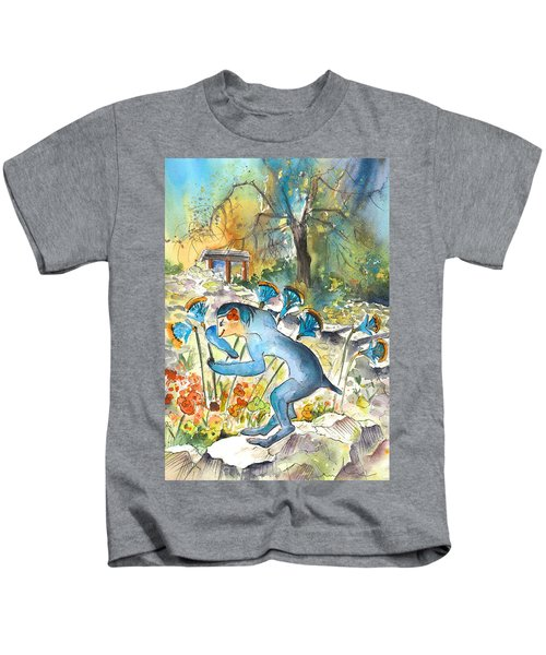The Minotaur In Knossos Kids T-Shirt by Miki De Goodaboom