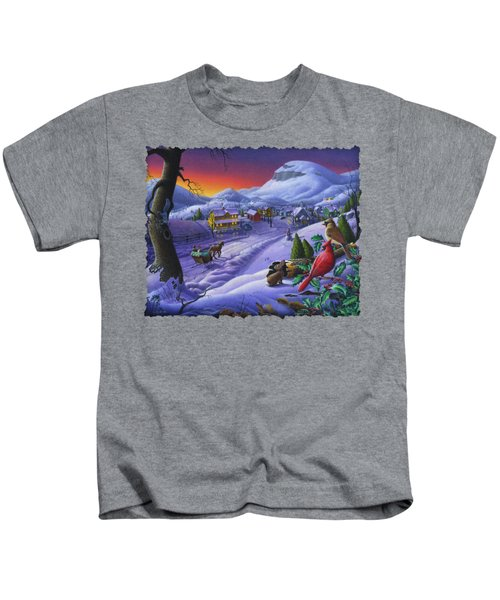 Christmas Sleigh Ride Winter Landscape Oil Painting - Cardinals Country Farm - Small Town Folk Art Kids T-Shirt by Walt Curlee