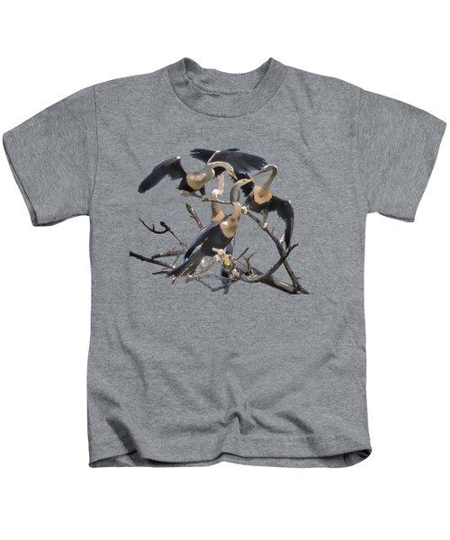 Anhinga Feeding Time Transparency Kids T-Shirt by Richard Goldman