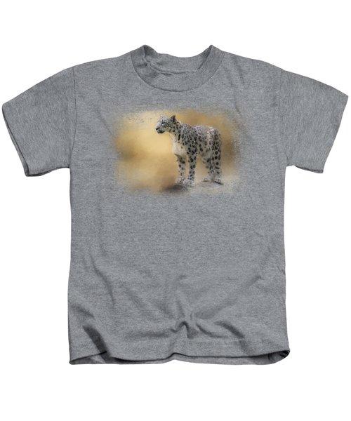 Snow Leopard Kids T-Shirt by Jai Johnson