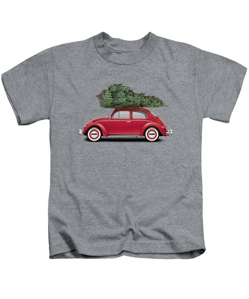 1962 Volkswagen Deluxe Sedan - Ruby Red W/ Christmas Tree Kids T-Shirt by Ed Jackson