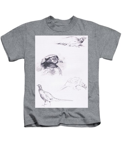 Pheasants Kids T-Shirt by Archibald Thorburn