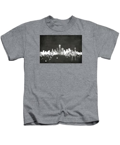 Dallas Texas Skyline Kids T-Shirt by Michael Tompsett