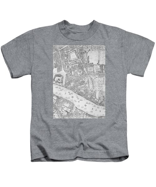 A Map Of The Tower Of London Kids T-Shirt by John Rocque