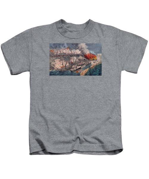 Admiral Farragut's Fleet Engaging The Rebel Batteries At Port Hudson Kids T-Shirt by American School
